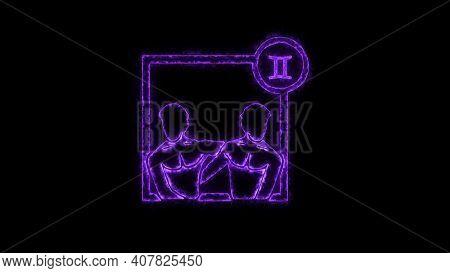 The Gemini Zodiac Symbol, Horoscope Sign Lighting Effect Purple Neon Glow. Royalty High-quality Free