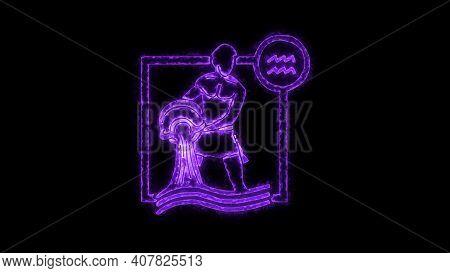 The Aquarius Zodiac Symbol, Horoscope Sign Lighting Effect Purple Neon Glow. Royalty High-quality Fr