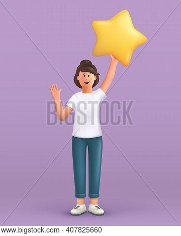 3d Cartoon Character. Young Woman Waving Hand Saying Hi And Holding A Big Star. Customer Review Rati