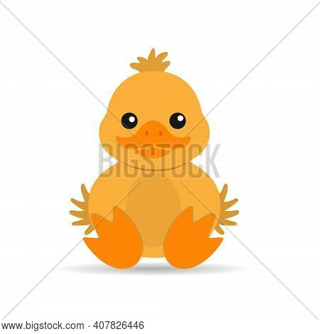 Children's Drawing Of A Duckling For Themed Design, Children's Book And Scrapbooking. Vector Illustr