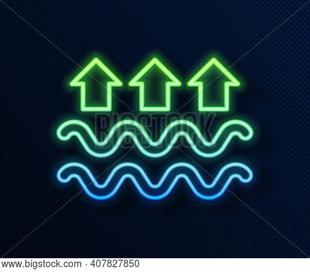 Glowing Neon Line Waves Of Water And Evaporation Icon Isolated On Blue Background. Vector