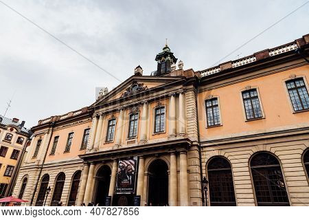 Stockholm, Sweden - August 8, 2019: The Swedish Academy Is An Independent Cultural Institution In St