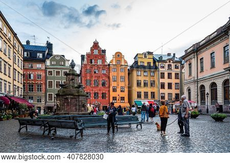 Stockholm, Sweden - August 8, 2019: Scenic View Of Stortorget Square In Gamla Stan At Sunset, The Ol