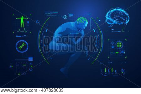 Concept Of Brain Analysis Or Brain Research, Graphic Of Thinking Man With Medical Technology Interfa