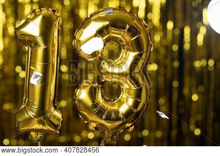 Gold Foil Number 13 Thirteen Festive Balloon On A Yellow Background. The Concept Of Birthday, Annive