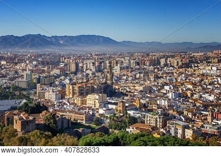 Scenic View Of Malaga City In Spain. Travel The Spain In Summer. Cityscape Of Malaga.
