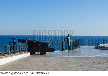 Balcony Of Europe (balcon De Europa) In Nerja, Spain. Landscape With Statues On A Famouse Place, Sea