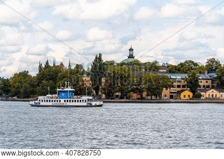 Stockholm, Sweden - August 8, 2019: Tour Boat In The Harbour Of Stockholm. Skeppsholmen Island