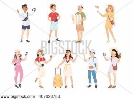 Happy Tourists Sightseeing And Photographing Set, Men And Women Travelling On Summer Vacation Cartoo