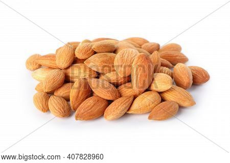 Heap Of Tasty Almond Isolated On White Background
