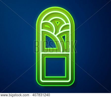 Glowing Neon Line Doner Kebab Icon Isolated On Blue Background. Shawarma Sign. Street Fast Food Menu