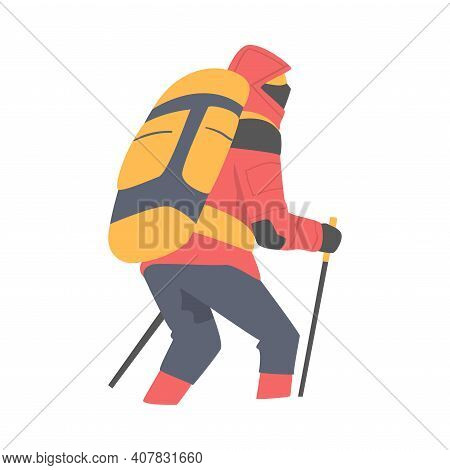 Man Character With Backpack Ascending Mountain Vector Illustration