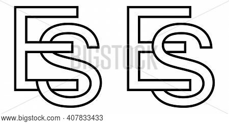 Logo Sign Es Se Icon Sign Interlaced Letters S, E Vector Logo Es, Se First Capital Letters Pattern A