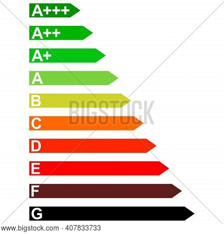 Energy Efficiency Household Appliances From D To A, Vector Signs Diagram Energy Efficiency A D