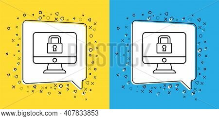 Set Line Lock On Computer Monitor Screen Icon Isolated On Yellow And Blue Background. Security, Safe