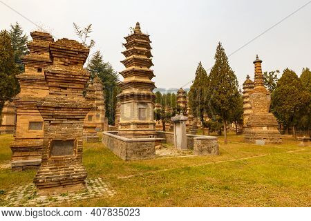 Dengfeng, Henan, China - October 16, 2018: Pagoda Forest At Shaolin Temple. The Pagoda Forest In Sha