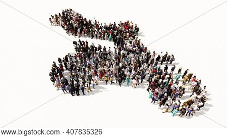Concept conceptual large community of people forming the image of a stuntman on a motorcycle on colorful background. A 3d illustration metaphor for sport, adrenaline, extreme competition, danger, fun