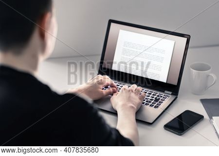 Man Writing With Laptop. Job Applicant Making His Resume, Cv Or Application. Freelance Writer, Journ