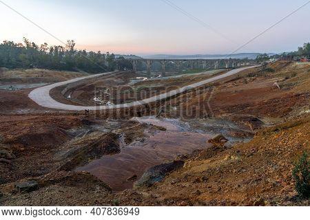 Minas Del Castillo, Spain - 29 January, 2021: The Abandoned Old Mining Grounds At The Reserva Natura