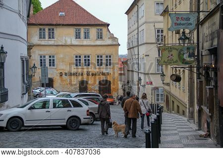 Prague, Czech - April 24, 2012: This Is One Of The Old Streets In The Mala Strana District.