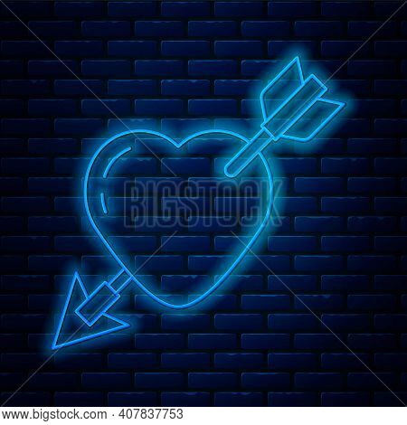 Glowing Neon Line Amour Symbol With Heart And Arrow Icon Isolated On Brick Wall Background. Love Sig
