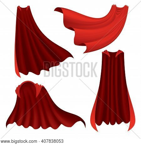 Superhero Red Cape. Scarlet Fabric Silk Cloak In Different Position, Front Back And Side View. Carni