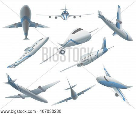 Set Of Airplanes In Different Positions For Commercial Aviation Fleet. Aircraft Transport. Civil Air