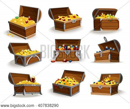 Treasure Chests Isometric Cartoon Set. Collection Of Wooden Open Boxes Full Of Gold Coins And Jewels
