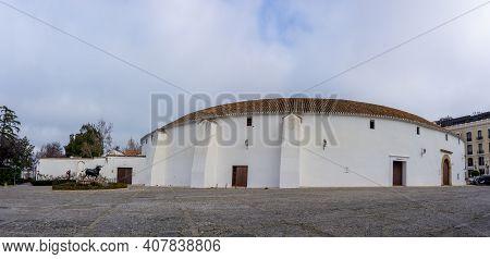 Ronda, Spain - 2 February, 2021: Panorama View Of The Bullfighting Ring And Arena In Ronda In Andalu