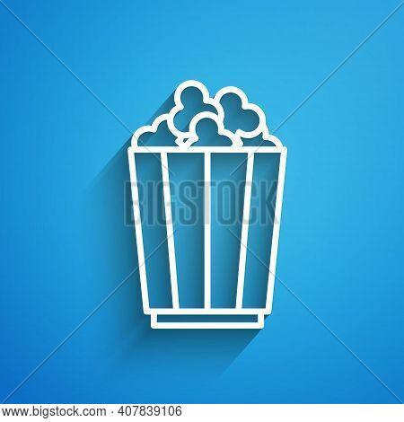 White Line Popcorn In Cardboard Box Icon Isolated On Blue Background. Popcorn Bucket Box. Long Shado