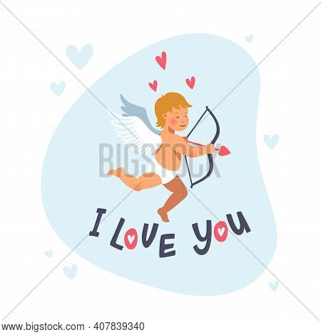 Cupid Or Angel With Bow And Arrow. Vector Cute Cupid For Valentine S Day. Cartoon Flat Style Vector