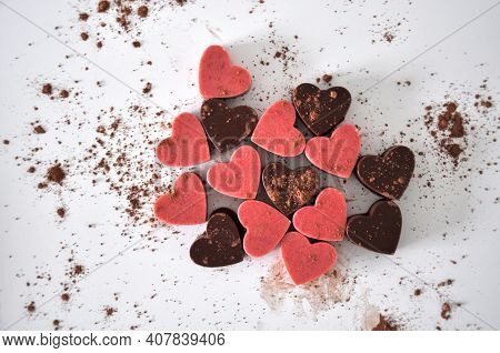 Chocolate Hearts Made Of Strawberry And Cacao For Valentine Day