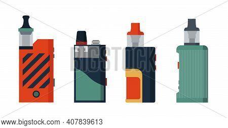 Vape Set. Different Design Pod Mods. E-cigarette For Vaping. Hipster Equipment For Smoking. Vaping D
