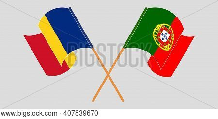 Crossed And Waving Flags Of Romania And Portugal. Vector Illustration