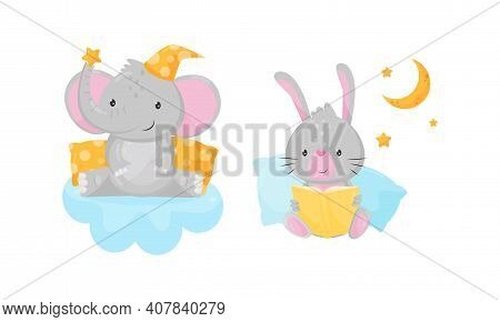Elephant In Bed Cap Sitting On Soft Cloud And Hare Reading Book Vector Set