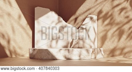 3d White Stone Slabs Podium Display. Product Podium For Packaging, Branding, And Cosmetic Presentati