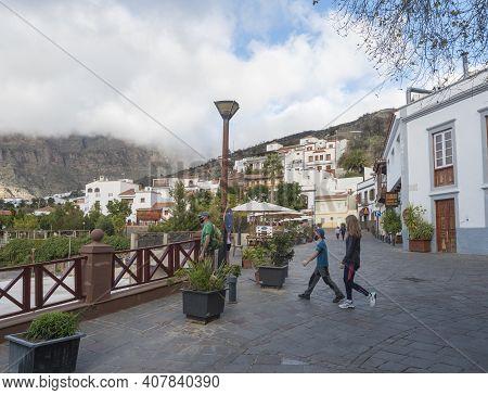 Tejeda, Gran Canaria, Canary Islands, Spain December 15, 2020: Main Street In Tejeda. Picturesque Ca