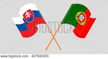Crossed And Waving Flags Of Slovakia And Portugal. Vector Illustration