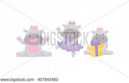 Funny Girl Hippopotamus Wearing Bow On Her Head Dancing And Holding Wrapped Gift Box Vector Set