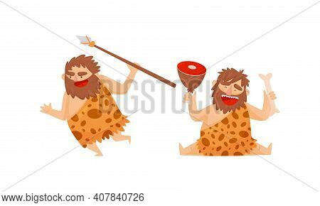 Hairy Bearded Stone Age Man Character Wearing Animal Skin Hunting With Spear And Eating Meat Slab Ve