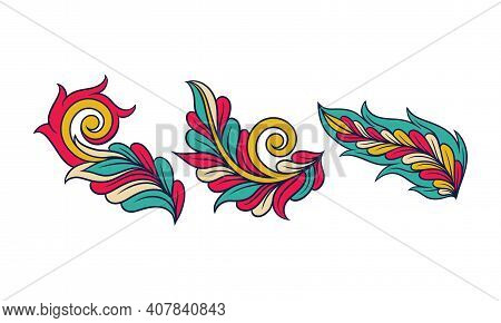 Colorful Decorative Elements With Floral Motif Vector Set