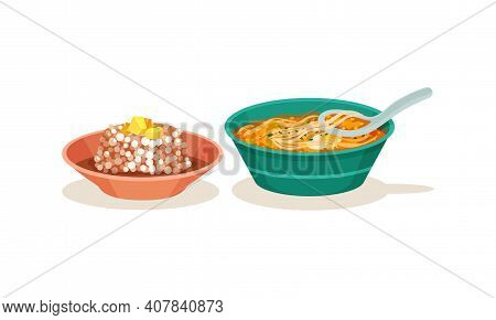 Malaysian Cuisine Dishes Served In Bowl Vector Set