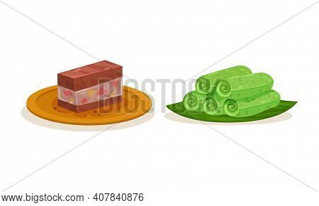 Jelly And Sweet Coconut Pancake As Malaysian Cuisine Dishes Served On Plate Vector Set