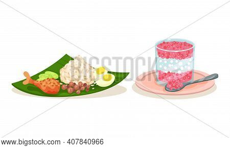Rice With Chicken And Sweet Bubbles In Glass As Malaysian Cuisine Dishes Served On Plate Vector Set