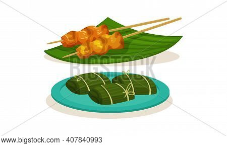 Dolma Wrapped In Green Leaf And Shashlik On Skewer As Malaysian Cuisine Dishes Served On Plate Vecto