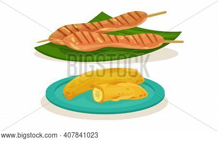 Grilled Meat On Skewer And Fried Bananas As Malaysian Cuisine Dishes Served On Plate Vector Set