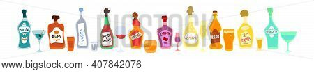 Collection Bottle And Glass In Row. Freehand Doodle Style On White Background. Colored Cartoon Sketc