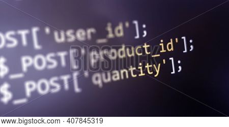 Coding Concept. Software Development Monitor. Technology Display. Application Source Code
