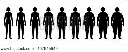 Body Mass Index Concept. Woman Silhouettes With Obese, Normal And Slim Fit. Bmi Ranges From Overweig