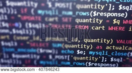Colorful Programming Php And Html Code On A Monitor. Php Language Code Closeup. Backend Programming,